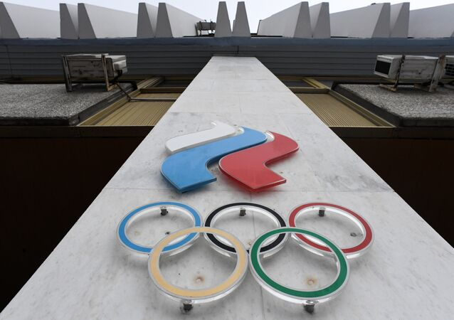 The Olympic rings are seen on the facade of the Russian Olympic Committee (ROC) building in Moscow