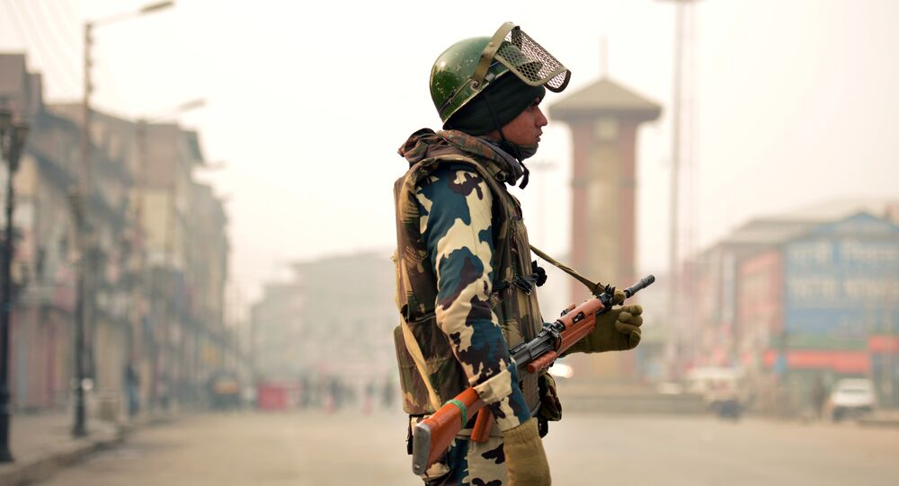 An Indian paramilitary trooper stands at the Lal Chowk area of central Srinagar. (File)