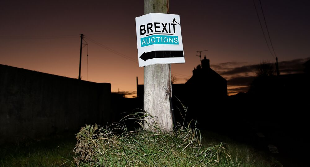 A sign for a Brexit auction is seen at sunset in the border town of Jonesborough, Northern Ireland, November 29, 2017