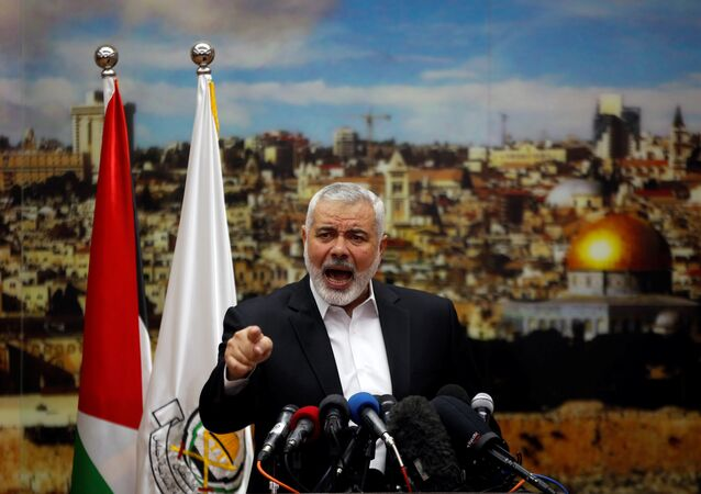 Hamas Chief Ismail Haniyeh gestures as he delivers a speech over U.S. President Donald Trump's decision to recognize Jerusalem as the capital of Israel, in Gaza City December 7, 2017
