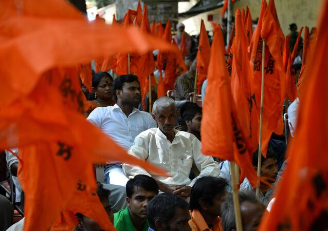 Indian United Hindu Front activists participate in a protest against the alleged 'Love Jihad' movement in New Delhi on September 23, 2014