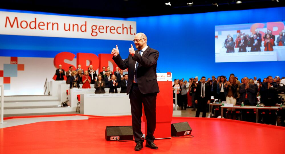 Social Democratic Party (SPD) leader Martin Schulz gestures during an SPD party convention in Berlin, Germany, December 7, 2017