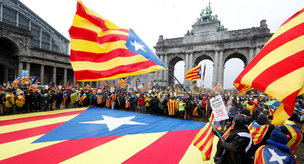 Pro-independence Catalans from all over Europe take part in a rally showing their support to ousted Catalan leader Carles Puigdemont and his government, in Brussels, Belgium December 7, 2017