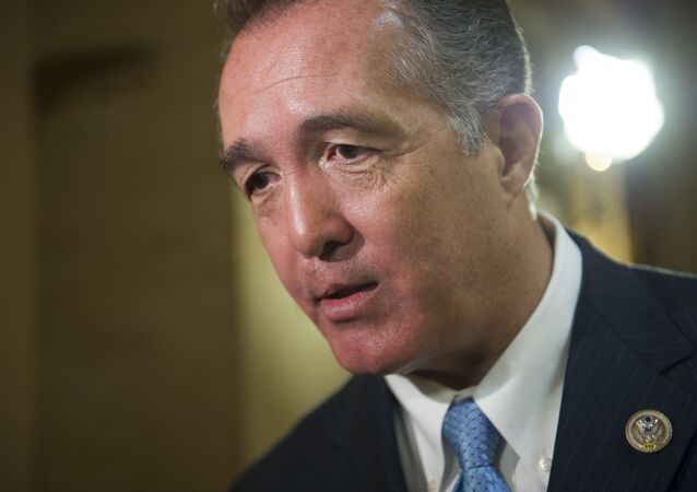 Rep. Trent Franks, R-Ariz. speaks with a reporter on Capitol Hill in Washington, Friday, March 24, 2017, as the House nears a vote on their health care overhaul.