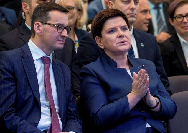 Finance Minister Mateusz Morawiecki and Prime Minister Beata Szydlo during Congress 590 in Jesionka near Rzeszow, Poland November 16, 2017