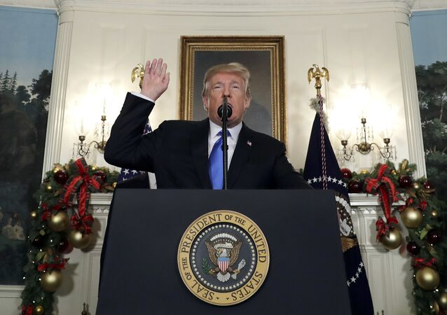 President Donald Trump speaks in the Diplomatic Reception Room of the White House, Wednesday, Dec. 6, 2017, in Washington