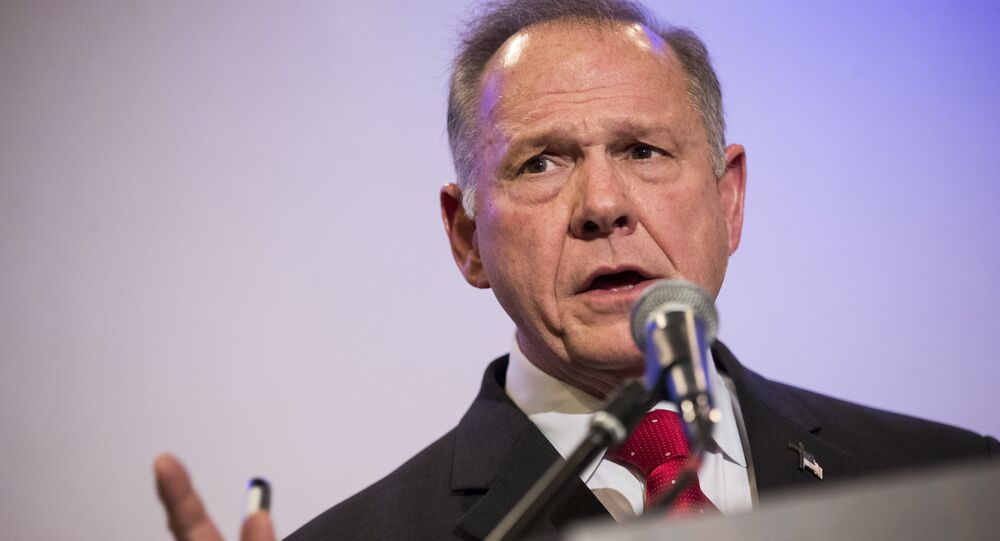 Republican candidate for US Senate Judge Roy Moore speaking during a news conference with supporters and faith leaders, in Birmingham, Alabama. (File)