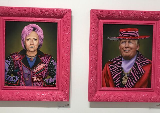 Both Hillary Clinton and Donald Trump are depicted in satirical paintings by Florida artist Scott Scheidly.
