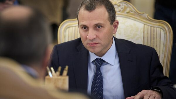 Lebanese Foreign Minister Gebran Bassil listens to his Russian counterpart Sergey Lavrov during their meeting in Moscow, Russia - Sputnik International