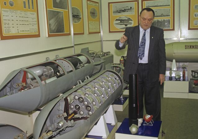 General director A. Obukhov of the Bazalt state research and production enterprise explaining the design and operation of the cluster bomb