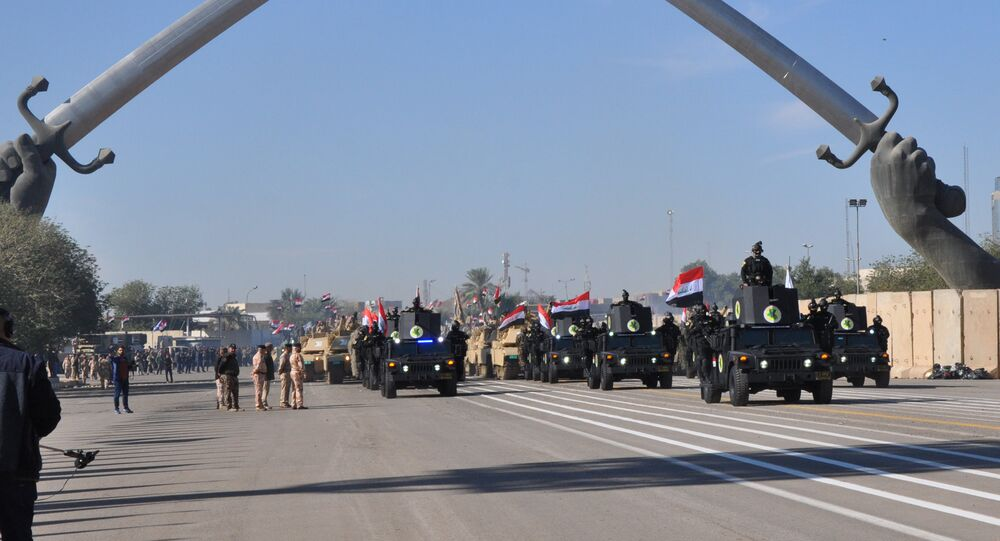 Military vehicles of Iraqi security forces are seen during an Iraqi military parade in Baghdad's fortified Green Zone, Iraq December 10, 2017