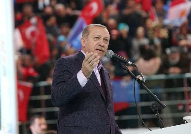 Turkish President Tayyip Erdogan addresses his supporters during a meeting of his ruling AK Party in Sivas, Turkey December 10, 2017