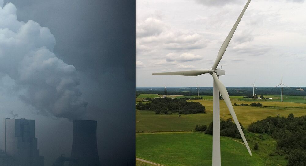 composite image: coal fired power plant/wind farm