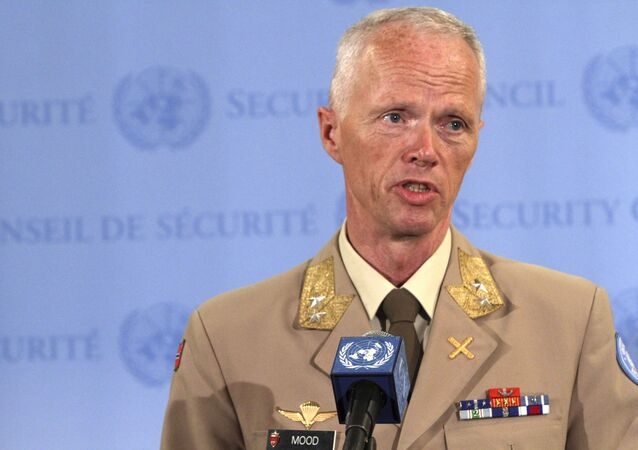 (File) Maj. Gen. Robert Mood, the head of the U.N. observer mission in Syria, speaks to reporters after addressing the Security Council on the situation in Syria, Tuesday, June 19, 2012 at United Nations headquarters