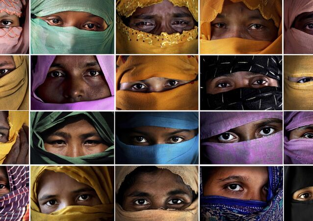 Combo photo comprises of portraits of some of the Rohingya Muslim women taken during an interview with The Associated Press in November 2017 in Kutupalong and Gundum refugee camp in Bangladesh