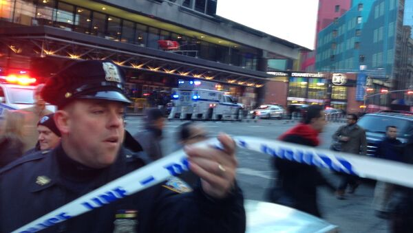 Police respond to a report of an explosion near Times Square on Monday, Dec. 11, 2017, in New York - Sputnik International