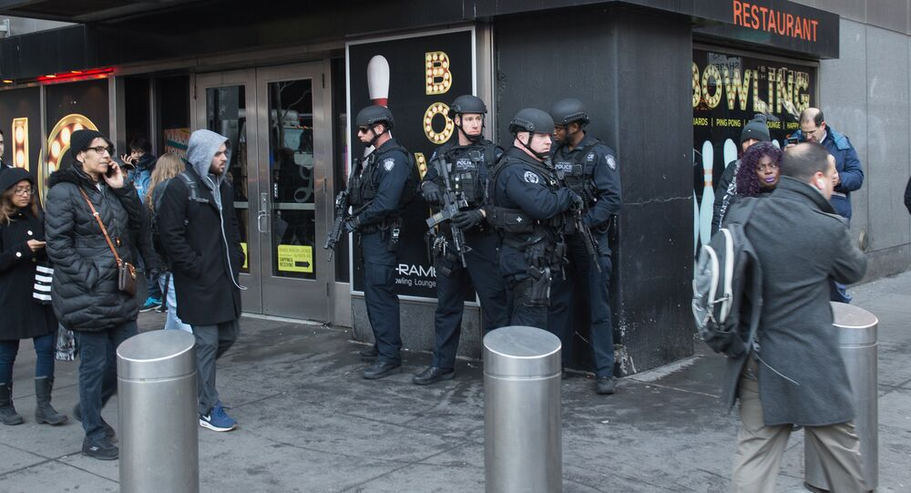 Police and other first responders respond to a reported explosion at the Port Authority Bus Terminal on December 11, 2017 in New York