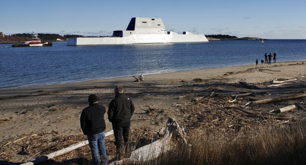 The future USS Michael Monsoor heads out to sea for trials, Monday, Dec. 4, 2017, in Phippsburg, Maine