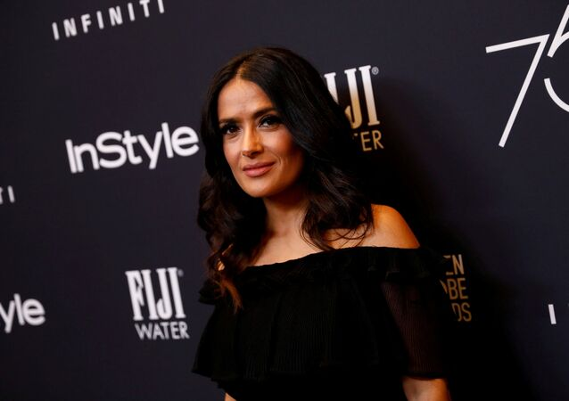 Actor Salma Hayek attends the Hollywood Foreign Press Association (HFPA) and InStyle celebration of the 75th Annual Golden Globe Awards season at Catch LA in West Hollywood, California, U.S. November 15, 2017