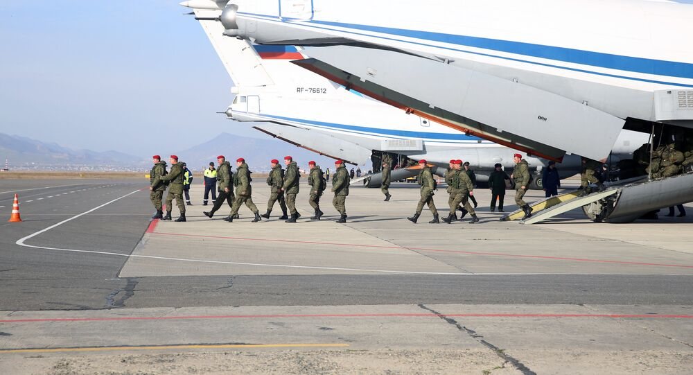 An Ilyushin IL-76MD aircraft with a military police battalion on board arrives in Makhachkala from Syria. File photo