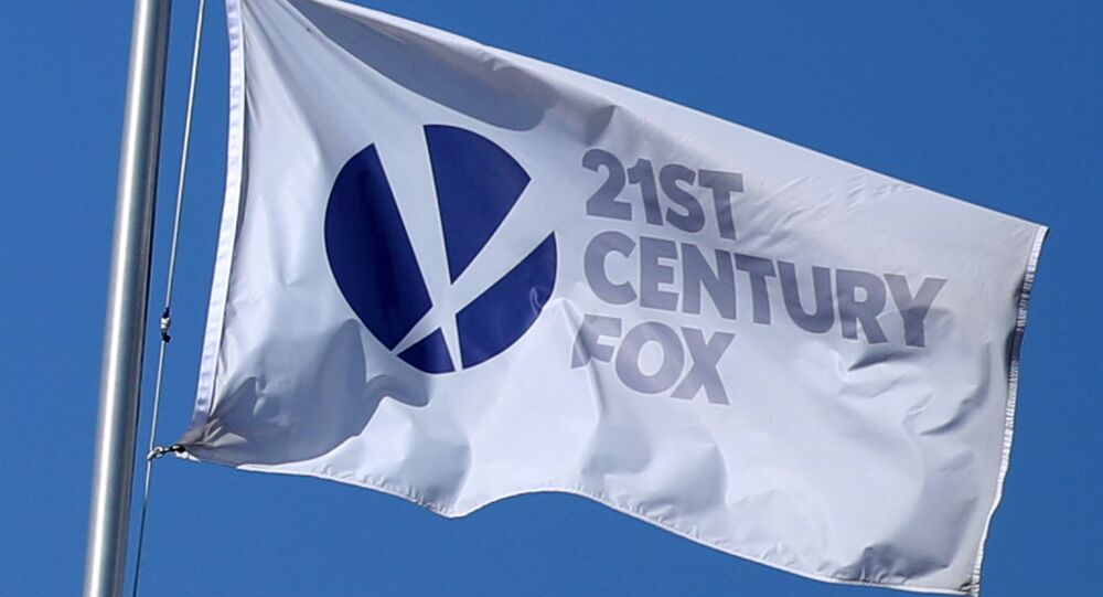 The Twenty-First Century Fox Studios flag flies over the company building in Los Angeles, California U.S. on November 6, 2017