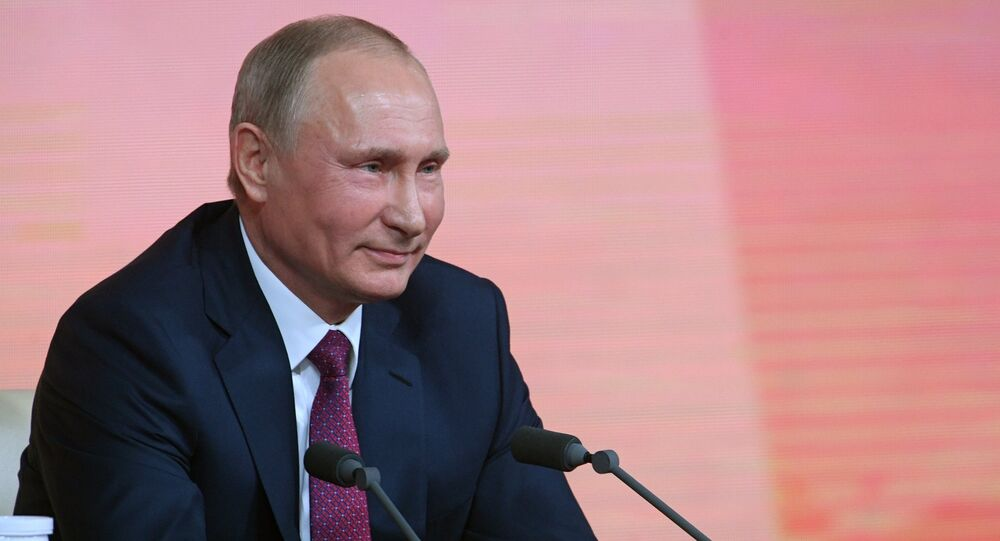 Russian President Vladimir Putin at his annual question and answer session