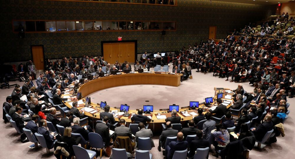 The United Nations Security Council begins a meeting at the United Nations Headquarters in New York, U.S
