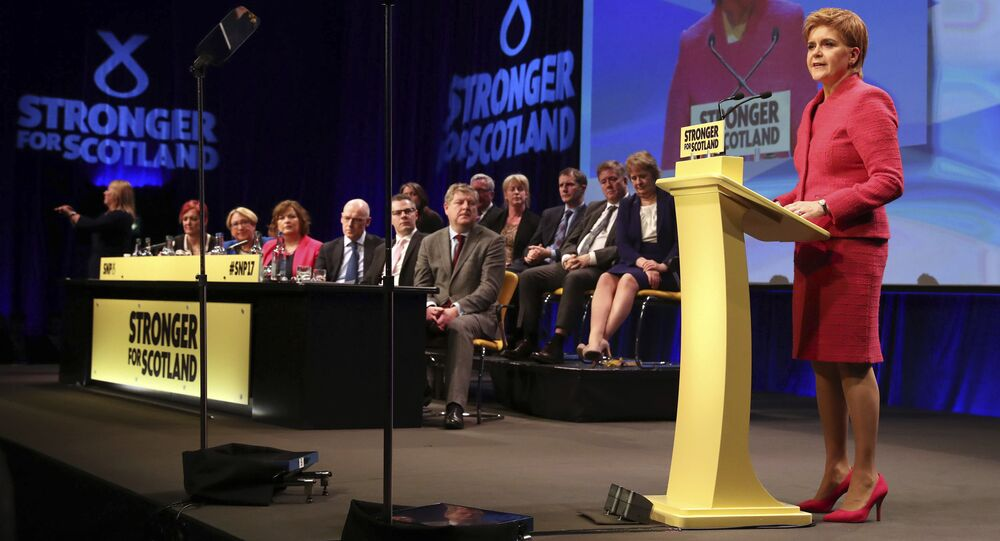 Scotland's First Minister and Scottish National Party leader Nicola Sturgeon makes a speech during the SNP Spring Conference, in Aberdeen, Scotland