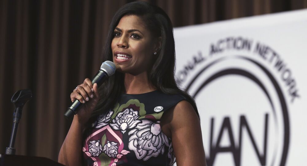 Omarosa Manigault-Newman, political aide and communications director for the Office of Public Liaison at the White House under President Donald Trump's administration, speaks at the Women's Power Luncheon of the 2017 National Action Network convention, in New York. (File)