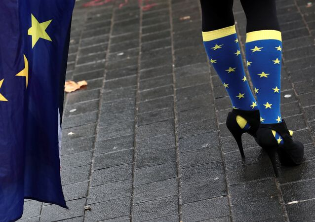 An anti-Brexit protester wears EU flag inspired socks outside the Houses of Parliament in London, Britain, December 13, 2017