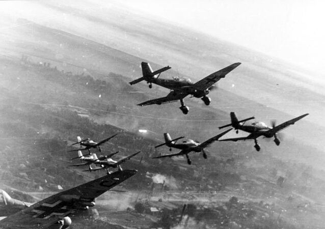 Ju 87s in attack formation on the Eastern Front.
