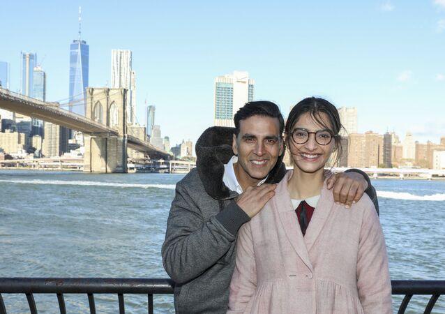 Sony Pictures Padman stars Akshay Kumar and Sonam Kapoor shoot near the Brooklyn Bridge on Friday, Nov. 17, 2017, in Brooklyn, N.Y.