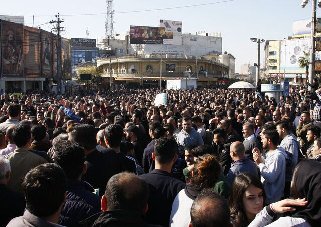 Kurdish demonstrators gather in the city of Sulaymaniyah to protest against political corruption and calling for the regional government to resign