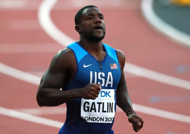 Justin Gatlin (USA) after the men's 100m sprint semifinal at the 2017 IAAF World Championships in London. File photo