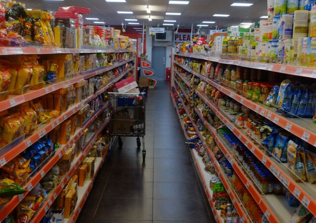 A typical aisle in Maxi Poli, Polish goods superstore, Thetford, UK