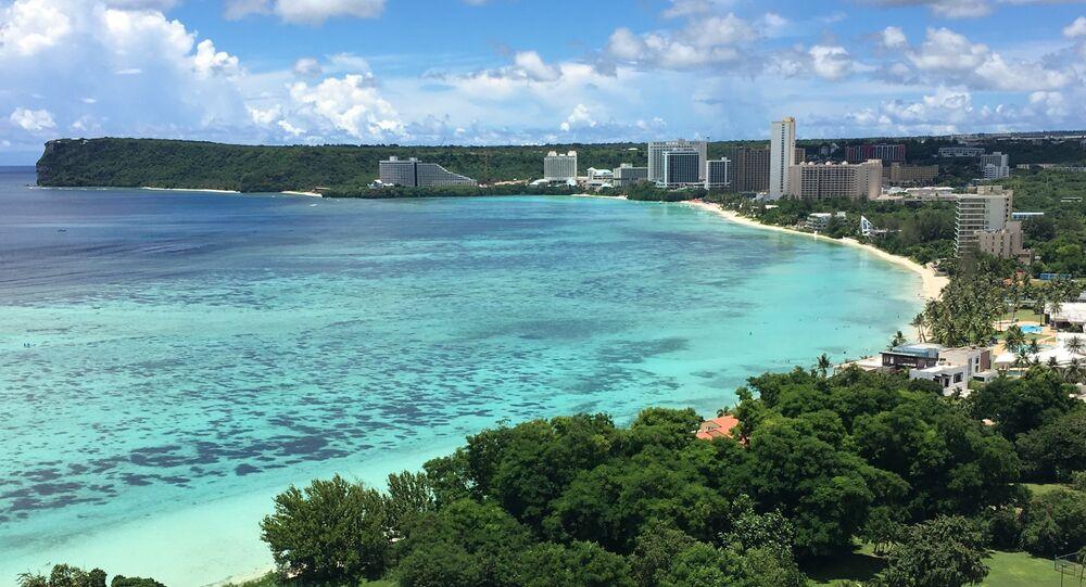 This photo shows Tumon Bay, Guam Monday, Aug. 14, 2017
