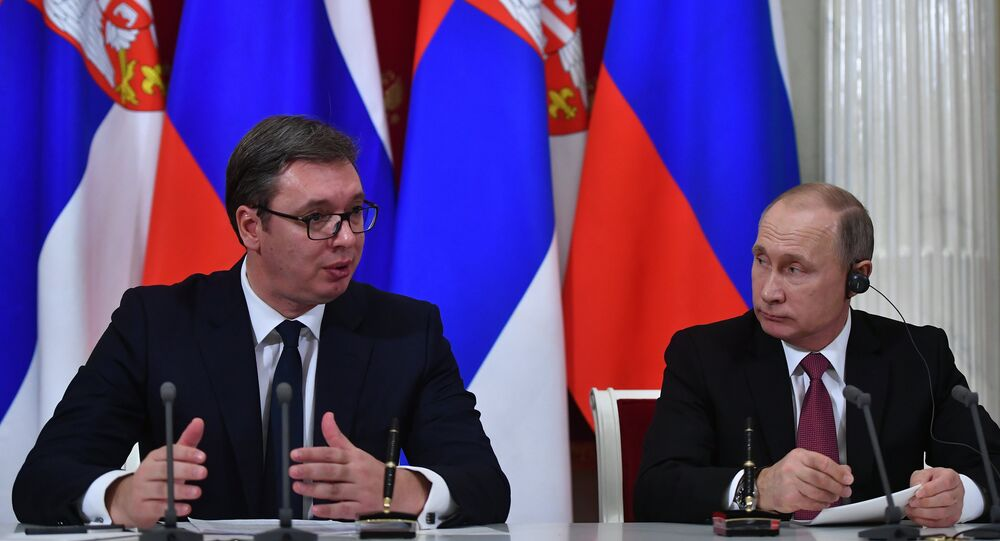 Russian President Vladimir Putin and Serbian President Aleksandar Vucic during a joint press statement following Russian-Serbian talks. File photo.