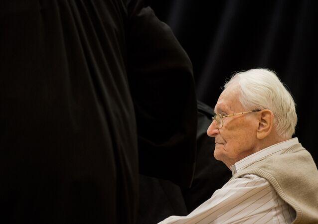 Der 94jährige frühere SS-Mann Oskar Gröning im Gerichtshof