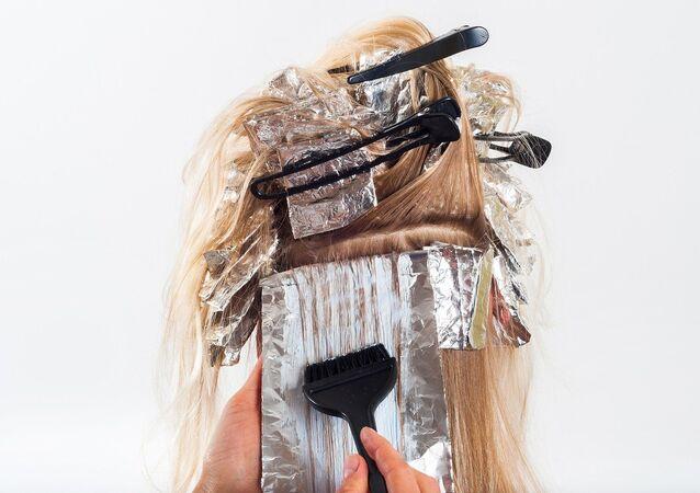 A woman in a hair salon