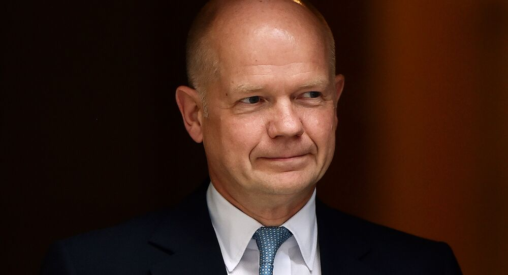 William Hague, former British Foreign Secretary, leaves Downing Street in London. (File)