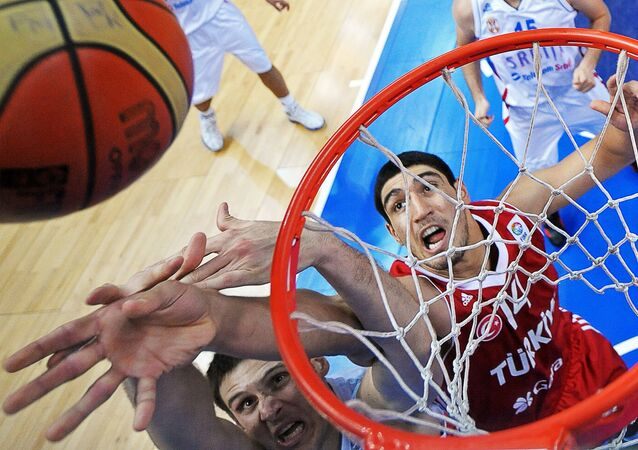 Enes Kanter of Turkey (C) vies during their game against Serbia during a 2011 European championship second round group E, basketball game in Vilnius. (File)