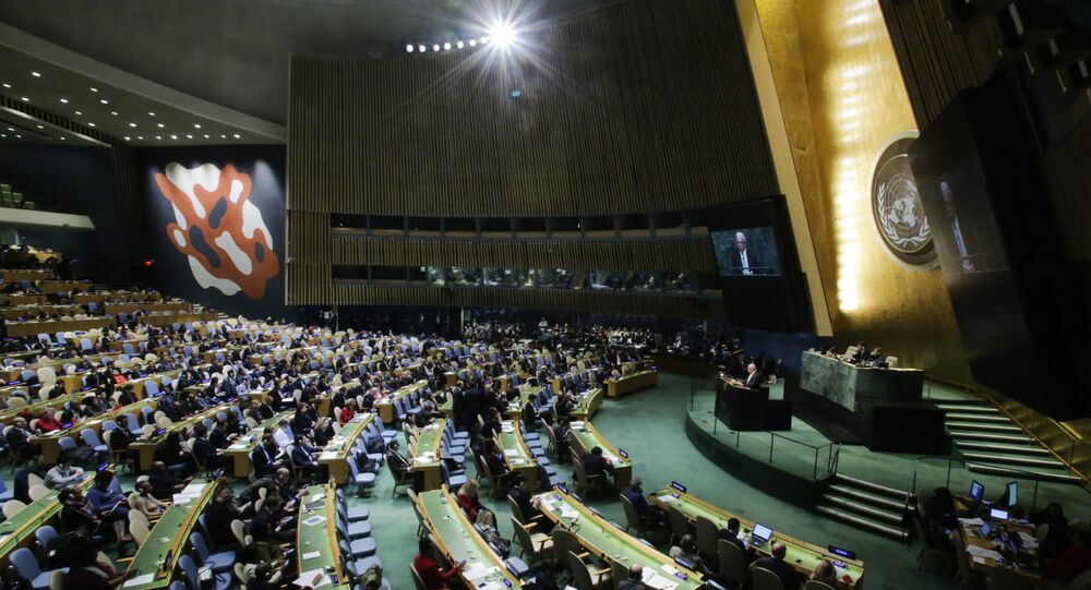 Palestinian Foreign Minister Riyad al-Malki addresses to members of delegations at the General Assembly for the vote on Jerusalem, on December 21, 2017, at UN Headquarters in New York