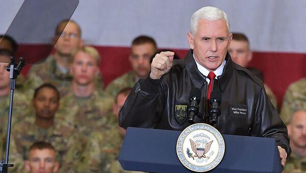 U.S. Vice President Mike Pence speaks to troops in a hangar at Bagram Air Base in Afghanistan on Thursday, Dec. 21, 2017. - Sputnik International