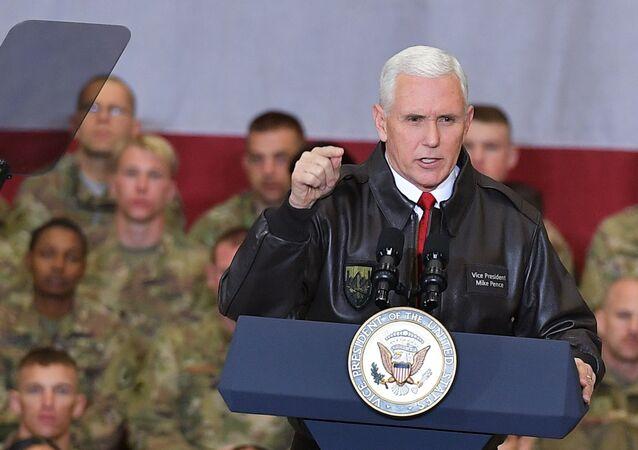 U.S. Vice President Mike Pence speaks to troops in a hangar at Bagram Air Base in Afghanistan on Thursday, Dec. 21, 2017.
