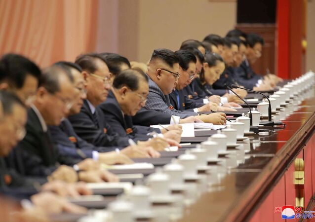 North Korean leader Kim Jong-un participates in the opening of the 5th Conference of Cell Chairpersons of the Workers' Party of Korea (WPK) in Pyongyang, in this undated photo released by North Korea's Korean Central News Agency (KCNA) in Pyongyang on December 22,2017