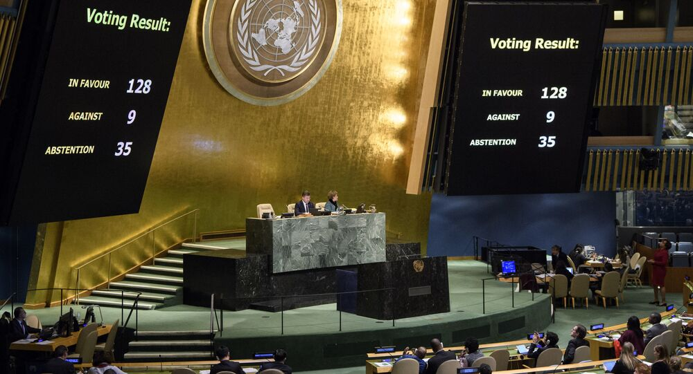 The results of a vote are posted in the General Assembly, Thursday, Dec. 21, 2017, at United Nations headquarters