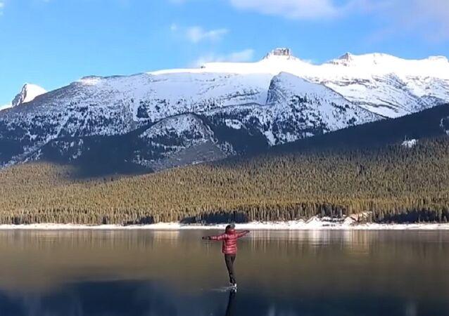 Woman skates on clear ice
