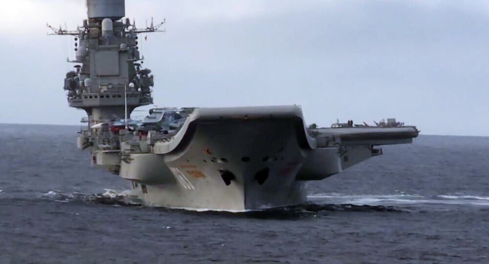 Admiral Kuznetsov heavy aircraft-carrying missile cruiser in the Mediterranean Sea near Syria