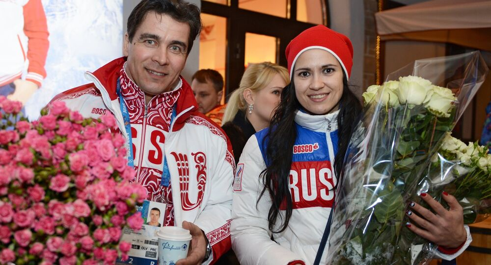 Olympic medalists in luge Albert Demchenko and Tatyana Ivanova at the Bosco Bar in Sochi. (File)