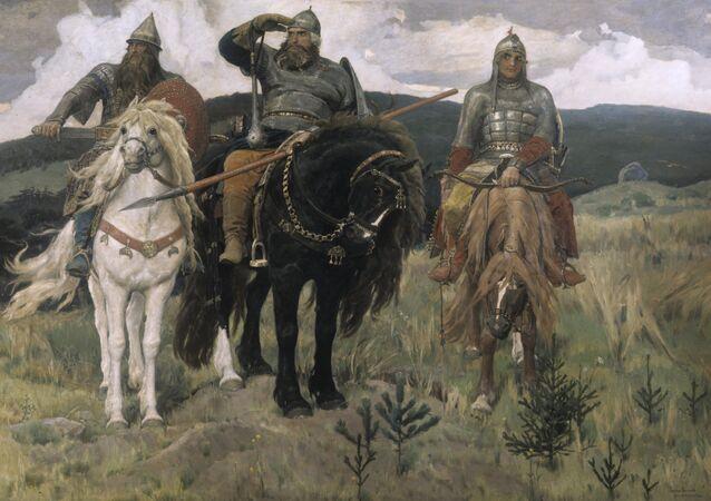 Victor Vasnetsov's Three Bogatyrs. 1898. Oil on canvas. State Tretyakov Gallery, Moscow. (File)